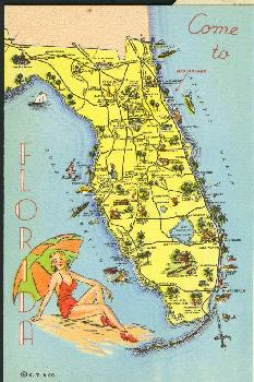 Old Florida Map Showing The Location Of Marineland